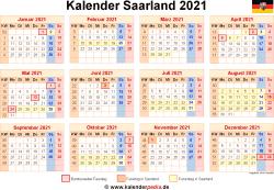 Kalender 2021 Saarland