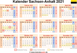 Kalender 2021 Sachsen-Anhalt