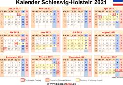 Kalender 2021 Schleswig-Holstein