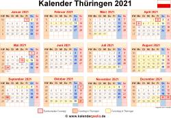 Kalender 2021 Thüringen