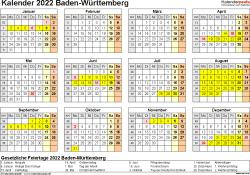 Vorlage 4: Kalender 2022 für Baden-Württemberg als PDF-Vorlagen (Querformat, 1 Seite, Jahresübersicht)
