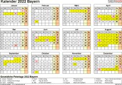 Vorlage 4: Kalender 2022 für Bayern als PDF-Vorlagen (Querformat, 1 Seite, Jahresübersicht)