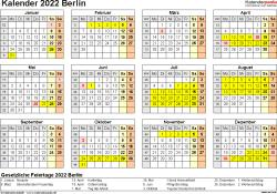 Vorlage 4: Kalender 2022 für Berlin als Excel-Vorlagen (Querformat, 1 Seite, Jahresübersicht)