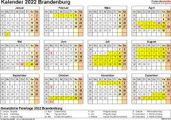 Vorlage 4: Kalender 2022 für Brandenburg als Excel-Vorlagen (Querformat, 1 Seite, Jahresübersicht)