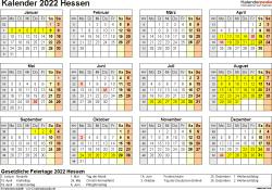 Vorlage 4: Kalender 2022 für Hessen als Excel-Vorlagen (Querformat, 1 Seite, Jahresübersicht)