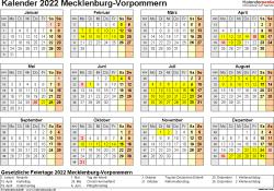 Vorlage 4: Kalender 2022 für Mecklenburg-Vorpommern als PDF-Vorlagen (Querformat, 1 Seite, Jahresübersicht)