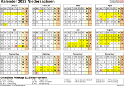Vorlage 4: Kalender 2022 für Niedersachsen als PDF-Vorlagen (Querformat, 1 Seite, Jahresübersicht)