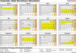 Vorlage 4: Kalender 2022 für NRW als Excel-Vorlagen (Querformat, 1 Seite, Jahresübersicht)