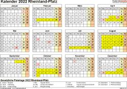 Vorlage 4: Kalender 2022 für Rheinland-Pfalz als PDF-Vorlagen (Querformat, 1 Seite, Jahresübersicht)