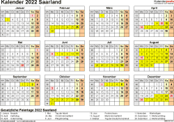 Vorlage 4: Kalender 2022 für Saarland als Excel-Vorlagen (Querformat, 1 Seite, Jahresübersicht)