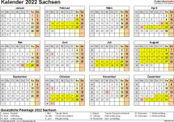Vorlage 4: Kalender 2022 für Sachsen als Excel-Vorlagen (Querformat, 1 Seite, Jahresübersicht)