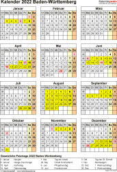 Vorlage 8: Kalender Baden-Württemberg 2022 als PDF-Vorlage (Hochformat)