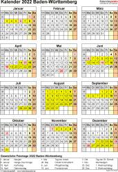 Vorlage 8: Kalender Baden-Württemberg 2022 als Excel-Vorlage (Hochformat)
