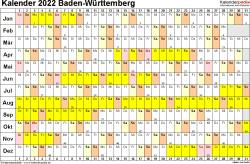 Vorlage 3: Kalender Baden-Württemberg 2022 im Querformat, Tage nebeneinander