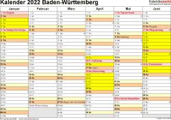Vorlage 2: Kalender 2022 für Baden-Württemberg als Excel-Vorlage (Querformat, 2 Seiten)