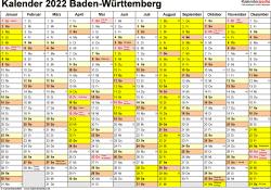 Vorlage 1: Kalender 2022 für Baden-Württemberg als Excel-Vorlage (Querformat, 1 Seite)