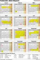 Vorlage 8: Kalender Bayern 2022 als Word-Vorlage (Hochformat)