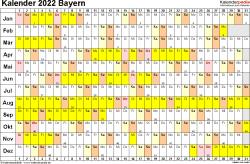 Vorlage 3: Kalender Bayern 2022 im Querformat, Tage nebeneinander