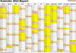 Vorlage 1: Kalender 2022 für Bayern als PDF-Vorlagen (Querformat, 1 Seite)
