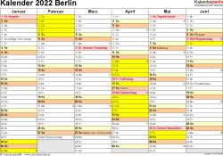 Vorlage 3: Kalender 2022 für Berlin als Excel-Vorlagen (Querformat, 2 Seiten)