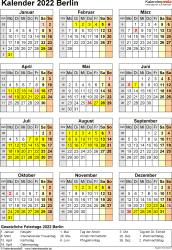 Vorlage 8: Kalender Berlin 2022 als Excel-Vorlage (Hochformat)