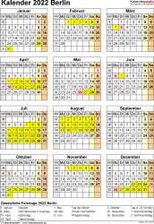 Vorlage 8: Kalender Berlin 2022 als PDF-Vorlage (Hochformat)