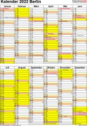 Vorlage 5: Kalender Berlin 2022 als Excel-Vorlage (Hochformat)