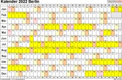 Vorlage 2: Kalender Berlin 2022 im Querformat, Tage nebeneinander