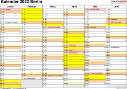 Vorlage 2: Kalender 2022 für Berlin als Excel-Vorlage (Querformat, 2 Seiten)