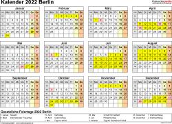 Vorlage 4: Kalender 2022 für Berlin als Excel-Vorlage (Querformat, 1 Seite, Jahresübersicht)