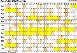 Vorlage 3: Kalender Berlin 2022 im Querformat, Tage nebeneinander