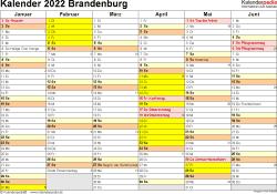 Vorlage 2: Kalender 2022 für Brandenburg als Excel-Vorlagen (Querformat, 2 Seiten)