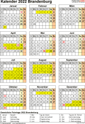 Vorlage 8: Kalender Brandenburg 2022 als Excel-Vorlage (Hochformat)