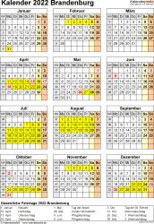 Vorlage 8: Kalender Brandenburg 2022 als Word-Vorlage (Hochformat)