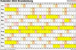 Vorlage 3: Kalender Brandenburg 2022 im Querformat, Tage nebeneinander