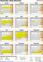 Vorlage 8: Kalender Bremen 2022 als Excel-Vorlage (Hochformat)