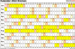 Vorlage 2: Kalender Bremen 2022 im Querformat, Tage nebeneinander