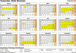Vorlage 4: Kalender 2022 für Bremen als PDF-Vorlage (Querformat, 1 Seite, Jahresübersicht)