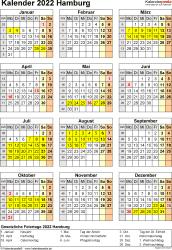 Vorlage 8: Kalender Hamburg 2022 als Excel-Vorlage (Hochformat)