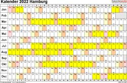 Vorlage 3: Kalender Hamburg 2022 im Querformat, Tage nebeneinander