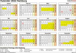 Vorlage 4: Kalender 2022 für Hamburg als Excel-Vorlage (Querformat, 1 Seite, Jahresübersicht)