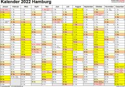Vorlage 1: Kalender 2022 für Hamburg als Excel-Vorlagen (Querformat, 1 Seite)