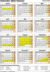 Vorlage 4: Kalender Hessen 2022 als Excel-Vorlage (Hochformat)