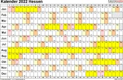 Vorlage 2: Kalender Hessen 2022 im Querformat, Tage nebeneinander