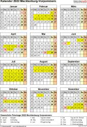 Vorlage 8: Kalender Mecklenburg-Vorpommern 2022 als Excel-Vorlage (Hochformat)