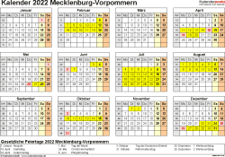 Vorlage 4: Kalender 2022 für Mecklenburg-Vorpommern als Word-Vorlage (Querformat, 1 Seite, Jahresübersicht)