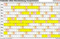 Vorlage 3: Kalender Mecklenburg-Vorpommern 2022 im Querformat, Tage nebeneinander