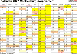 Vorlage 1: Kalender 2022 für Mecklenburg-Vorpommern als Excel-Vorlagen (Querformat, 1 Seite)