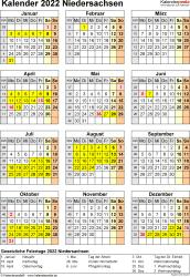 Vorlage 8: Kalender Niedersachsen 2022 als Word-Vorlage (Hochformat)