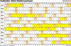 Vorlage 3: Kalender Niedersachsen 2022 im Querformat, Tage nebeneinander